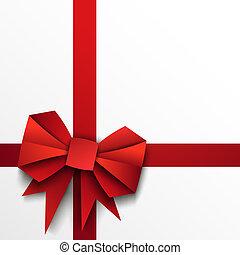 Geschenkpapier, roter Bogen und Band