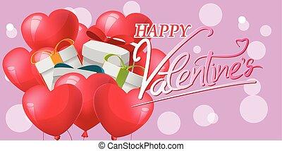 Geschenkroter Herzballon Hintergrund Vektor.