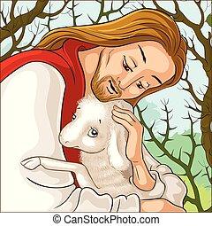 Geschichte von Jesus Christus. Das Parabel der verlorenen Schafe. Das gute Hirtenporträt, das ein Lamm rettet, das in Dornen gefangen ist