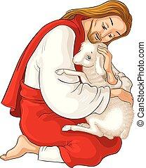 Geschichte von Jesus Christus. Das Parabel der verlorenen Schafe. Der gute Hirte, der ein Lamm rettet, das in Dornen gefangen ist, isoliert auf weiß