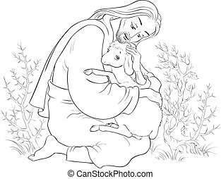 Geschichte von Jesus Christus. Das Parabel der verlorenen Schafe. Der gute Hirte, der ein Lamm rettet, das in Dornen gefärbt ist