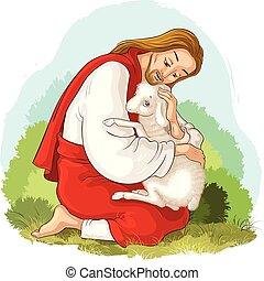 Geschichte von Jesus Christus. Das Parabel der verlorenen Schafe. Der gute Hirte, der ein Lamm rettet, das in Dornen gefangen ist