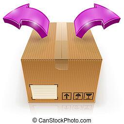 Geschlossene Box mit Pfeil draußen