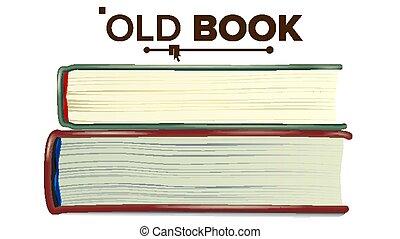 Geschlossener alter Buchsatz-Vektor. Bildung, Literatur. Isolierte Illustration