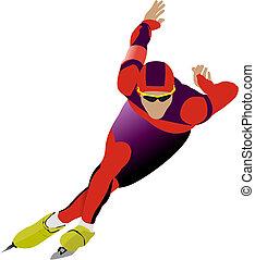 geschwindigkeit, abbildung, skating., vektor
