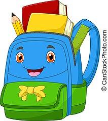gesicht, bagschool, karikatur, fanny, lächeln