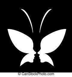 Gesicht einer Lady und Schmetterlings-Logo.