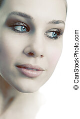 Gesicht einer sinnlichen, schönen, weiblichen, frischen Frau