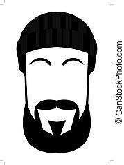 Gesicht eines Mannes mit Bart und Schnurrbart.