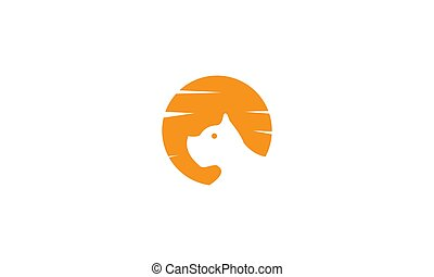 gesicht, logo, hund, sonnenuntergang, design, kopf