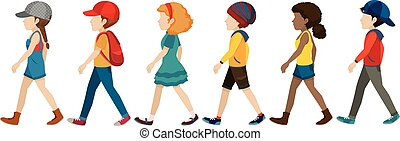 Gesichtslose Teenager laufen.