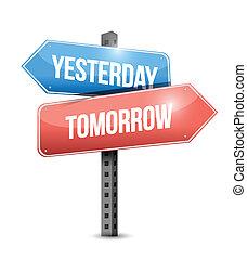 Gestern, morgen unterschreiben Sie Illustration Design.