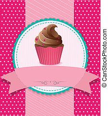 gestreift, retro, hintergrund, cupcake