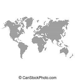 Gestreifte graue Weltkarte auf weißem Hintergrund. Vector