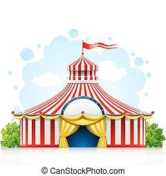 Gestreiftes Zirkus-Marquee Zelt mit Flagge.