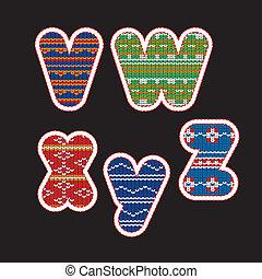 Gestricktes Alphabet - Buchstaben VWXYZ