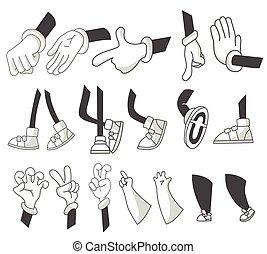 gesture., füße, arme, vektor, verschieden, verschieden, hands., clipart, karikatur, hände, beine, lags, satz, poses., positions., stiefeln, gehen, gloved