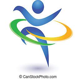 Gesund und glücklich Logo Vektor.