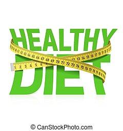 Gesunde Diät-Ausdrücke mit Messen.