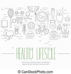 Gesunde Lifestyle Symbole gesetzt.