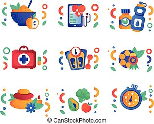 Gesunde Lifestyle Symbole gesetzt, körperliche Aktivität, Sport, Fitness, vegane Lebensmittel Design Elemente Vektor Illustrations auf einem weißen Hintergrund.