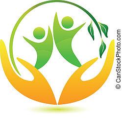 gesunde, logo, glücklich, leute