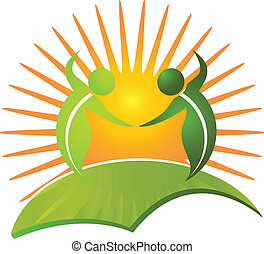 gesunde, logo, leben, vektor, natur
