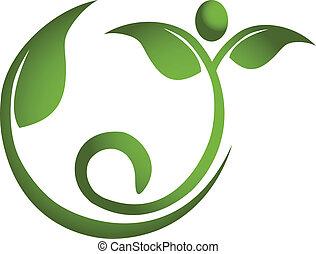 gesunde, logo, maenner, blatt, fitness