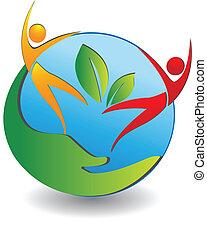 Gesunde Menschen kümmern sich um das Weltlogo.