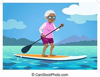 gesunde, wache, älter, paddelnd, wasser, amerikanische , auf, board., afrikanisch, aktive, grossmutter, kurze hosen, berge, gelassen, ausschlag, frau, hintergrund., stehen, ältere, reizend, lebensstil, bäume, paddel, tragen