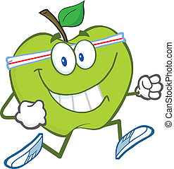 Gesunder grüner Apfel joggen