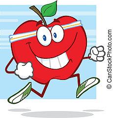 Gesunder roter Apfel joggt