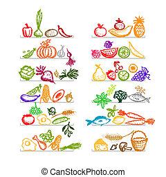 Gesundes Essen auf Regalen, Sketch für dein Design