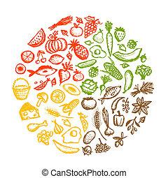 Gesundes Essen im Hintergrund, Skizze für dein Design