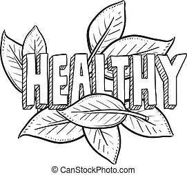 gesundes essen, skizze