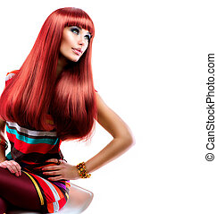 Gesundes, gerades rotes Haar. Fashion Beauty Model Girl