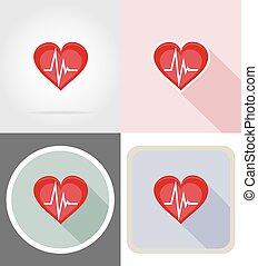 Gesundes Herzsymbol flache Icons Vektorgrafik.