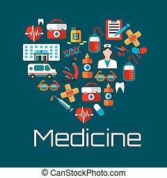 Gesundes Herzsymbol mit Ikonen für den medizinischen Dienst.