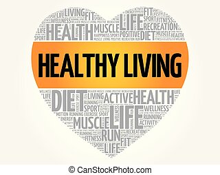 Gesundes, lebendiges Herzwortwolke, Fitness.
