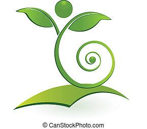 Gesundes, verdrahtetes Menschenblatt-Logo.