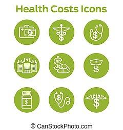 Gesundheitskosten und Ausgaben, die das Konzept der teuren Gesundheitsversorgung zeigen.