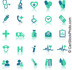 Gesundheitspflege Icons in medizinischer Grün