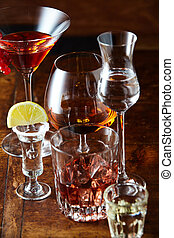 getränke, alkoholiker, auswahl