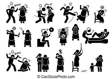 Gewalt während der Schwangerschaft intimieren.