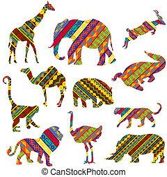 gewebe, satz, tiere, afrikanisch, gemacht, ethnisch