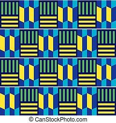 gewebe, textilien, inspiriert, vektor, afrikas, muster, geometrisches design, stammes-, kente, afrikanisch, seamless