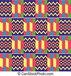gewebe, textilien, inspiriert, vektor, afrikas, stil, muster, design, stammes-, kente, afrikanisch, seamless