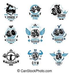 gewichte, sport, silhouettes., plakate, ausrüstung, workout, fitness, koerper, hanteln, vektor, thema, hanteln, scheibe, begeisternd, sportler, geschaffen, muskulös, sammlung, logotypes