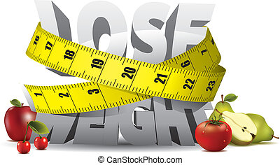 Gewichtsnachweise mit Maßband und Obst