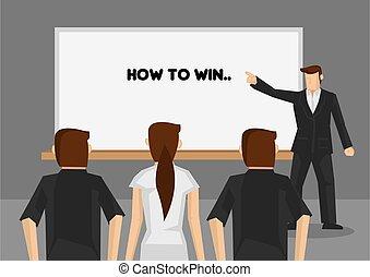 gewinnen, wie, vektor, training, karikatur, abbildung